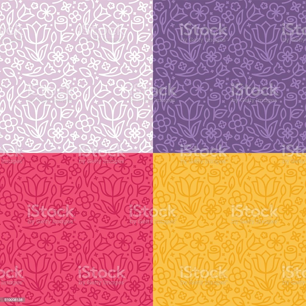 Vector set of seamless patterns in trendy linear style vector art illustration