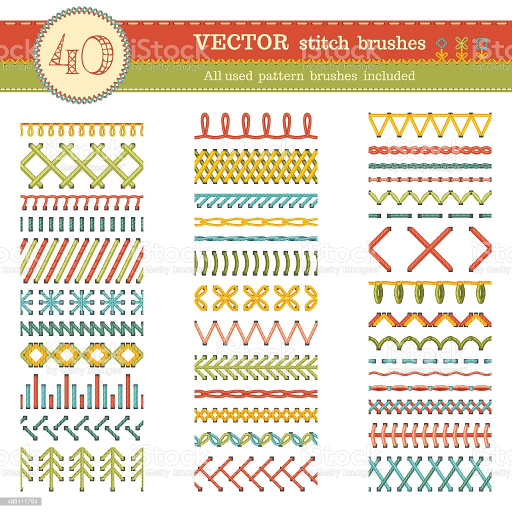 Vector set of seamless stitch brushes. vector art illustration