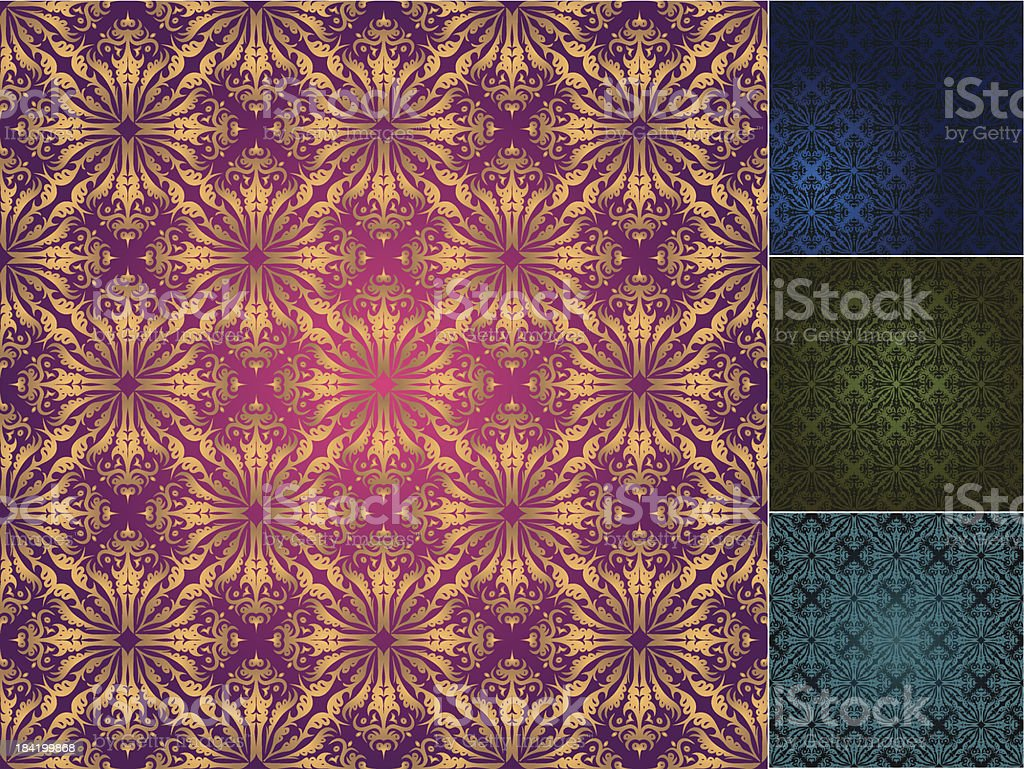 vector set of seamless vintage backgrounds royalty-free stock vector art