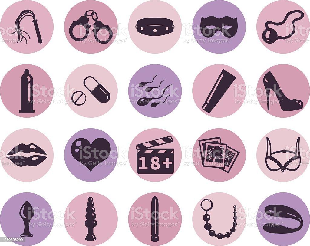 Vector Set of Sex Shop Icons vector art illustration