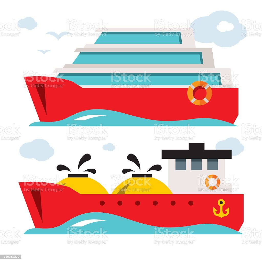 Vector Set of Ship Icons. Flat style colorful Cartoon illustration. vector art illustration