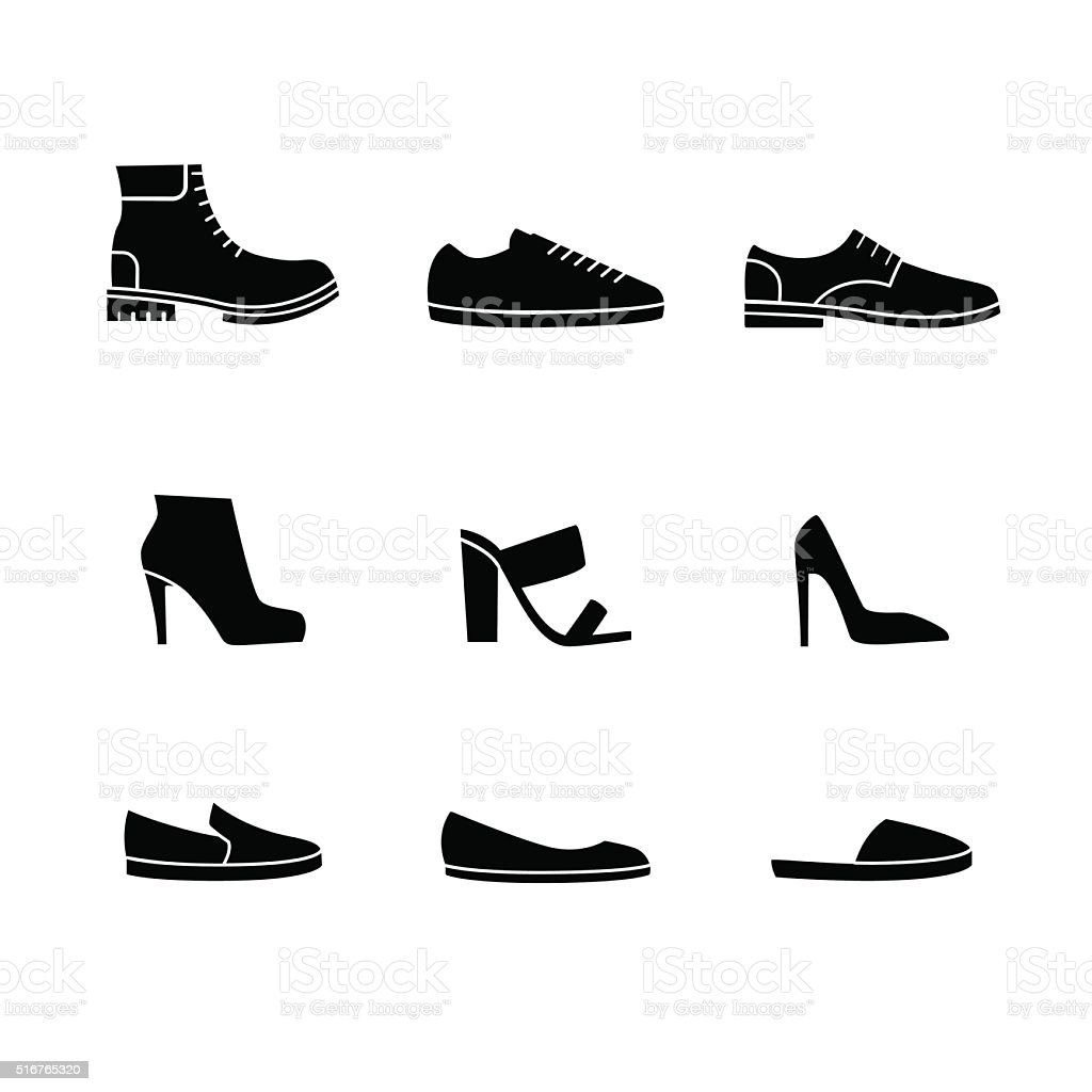 Vector set of shoes silhouettes vector art illustration