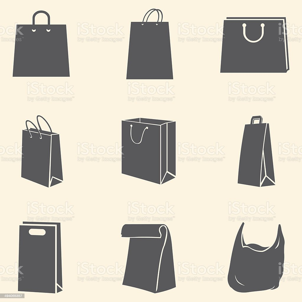 Vector Set of Shopping Bags Icons vector art illustration