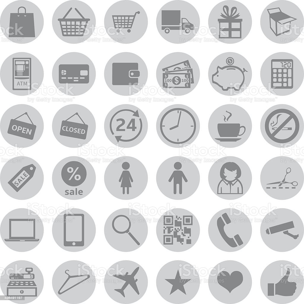 Vector Set of Shopping Icons vector art illustration