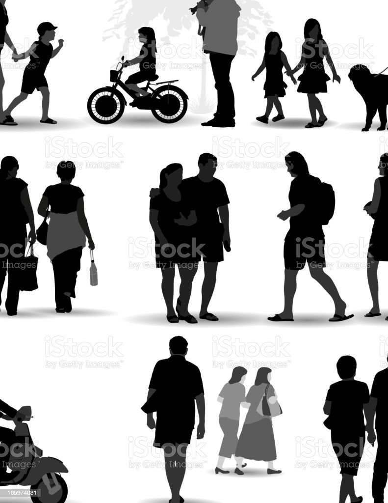 Vector set of silhouetted people on the move vector art illustration