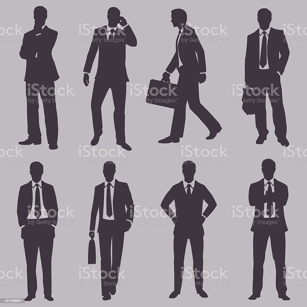 vector set of silhouettes business people vector art illustration