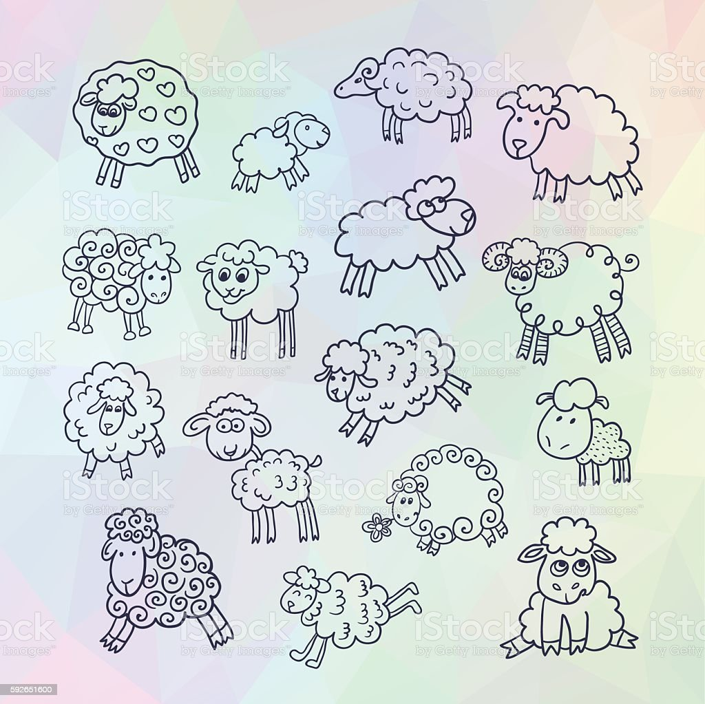 Vector set of sixteen cute sheep. vector art illustration