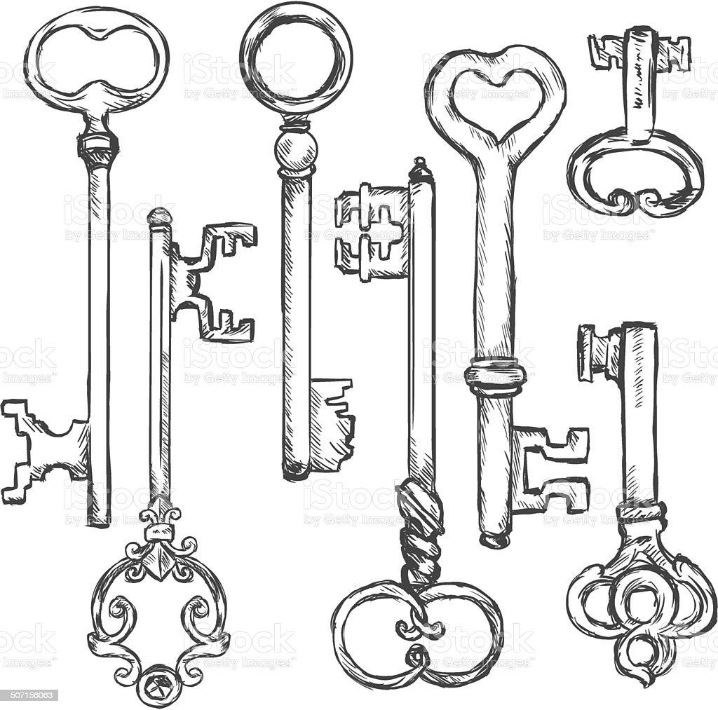 Vector Set of Sketch Antique Keys. vector art illustration