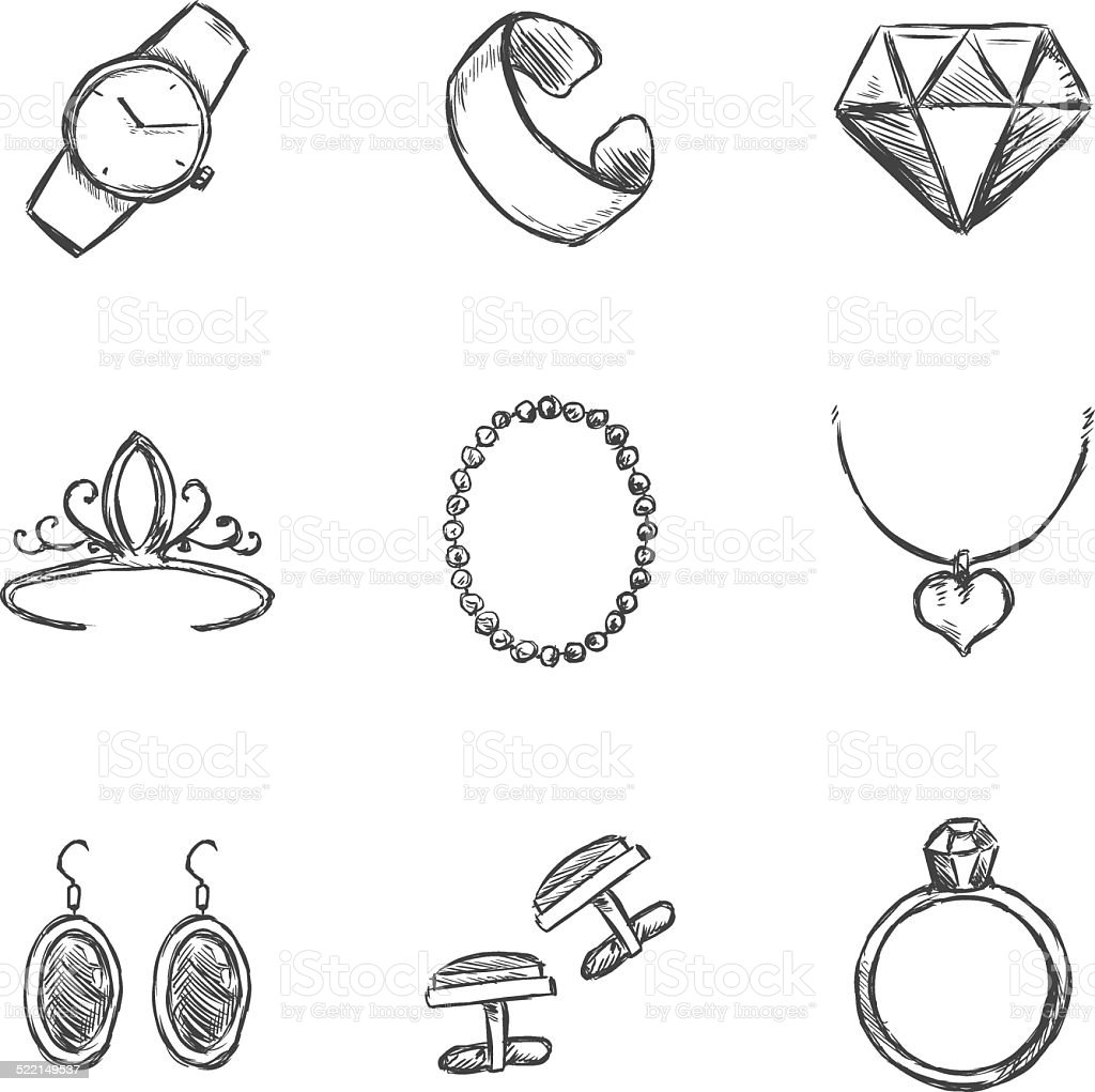 Armbanduhr skizze  Vektorset Skizze Schmuck Symbole Vektor Illustration 522149537 ...