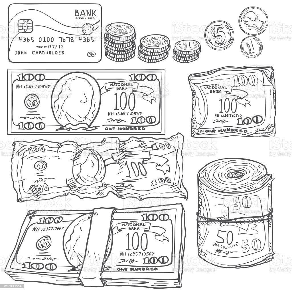 Vector Set of Sketch Money: Banknotes, Coins, Card. vector art illustration