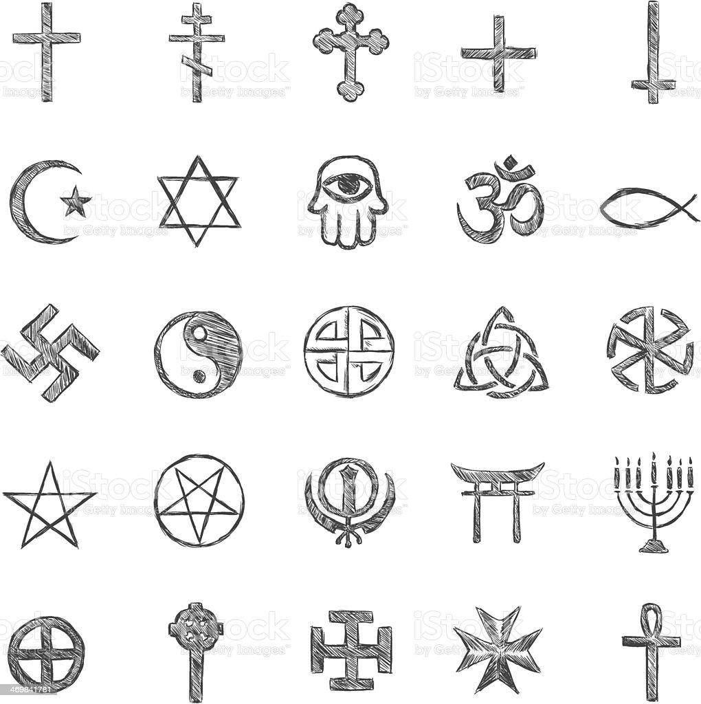vector set of sketch religious symbols royalty-free stock vector art