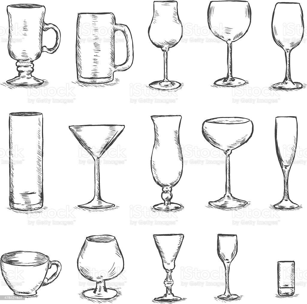 Vector Set of Sketch Stemware vector art illustration