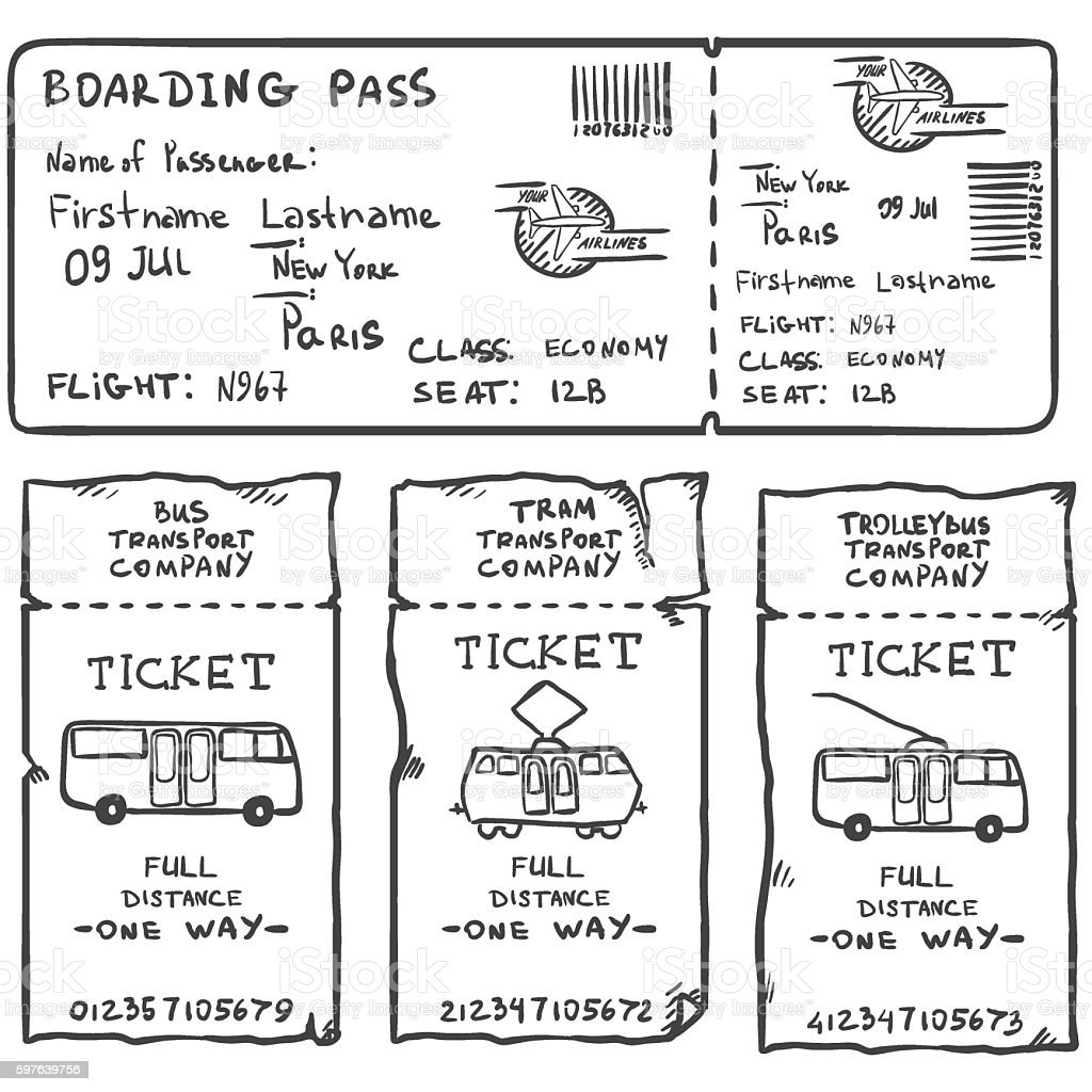 Vector Set of Sketch Tickets. Plane, Bus, Tram, Trolley Bus vector art illustration