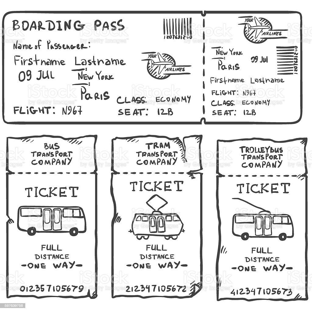 Vector Set of Sketch Tickets. Plane, Bus, Tram, Trolley Bus vector art illustration