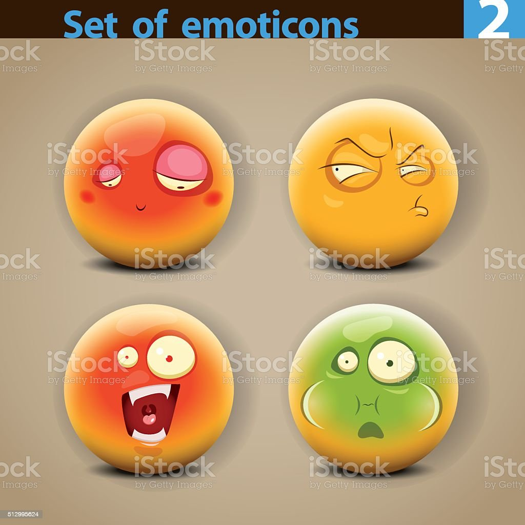 Vector set of smiley faces with different emotions vector art illustration