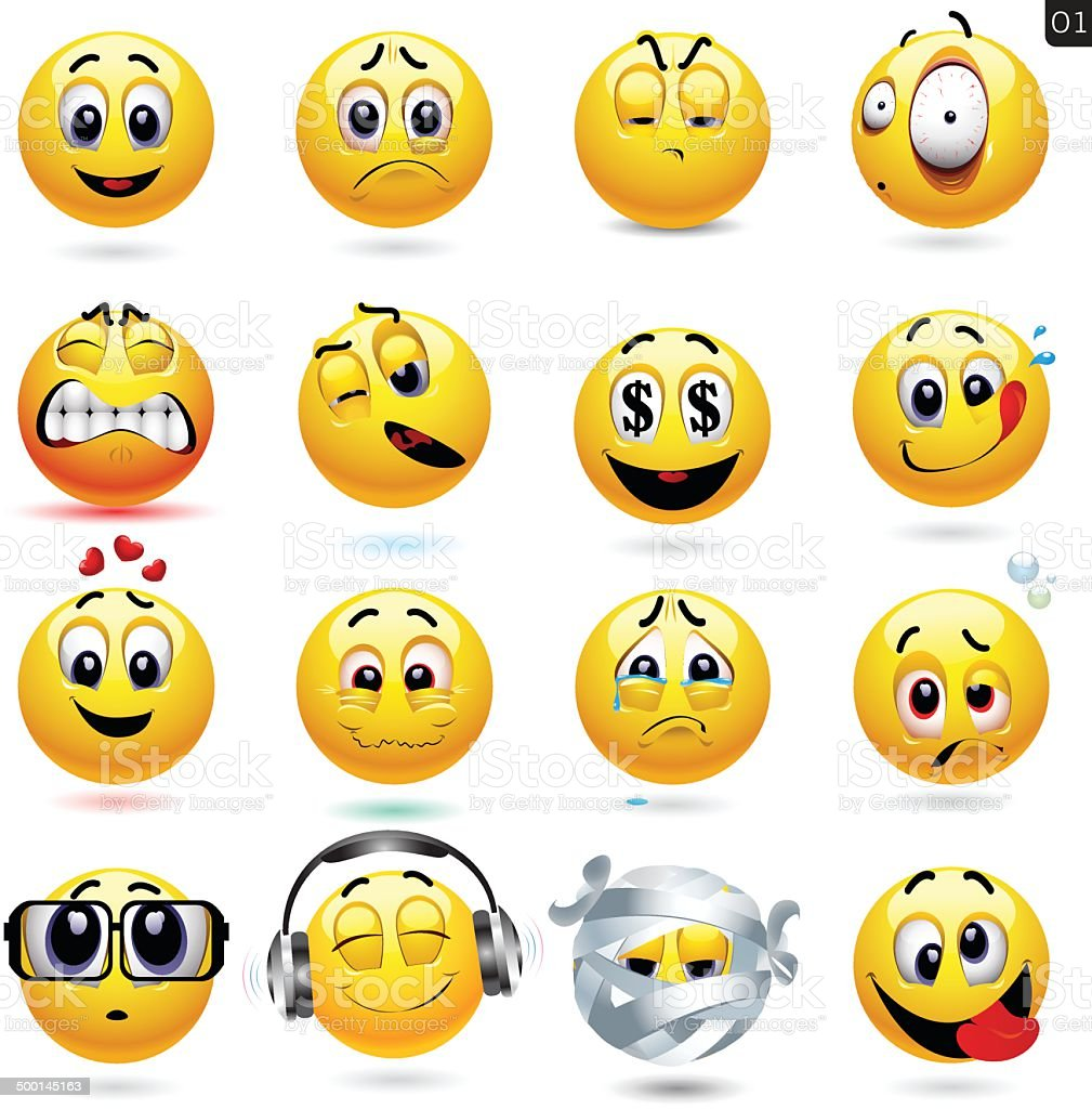 Vector set of smiley icons vector art illustration