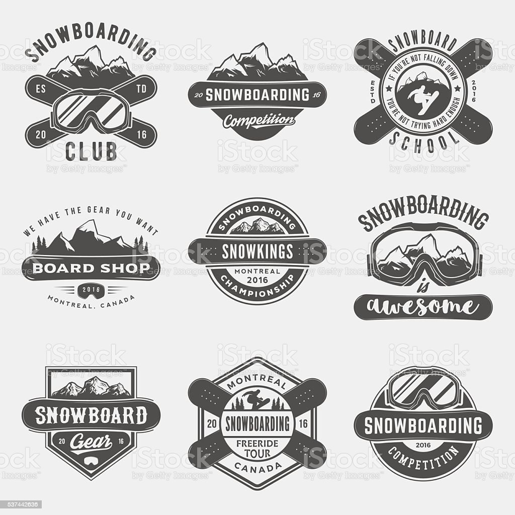 vector set of snowboarding logos, emblems and design elements vector art illustration