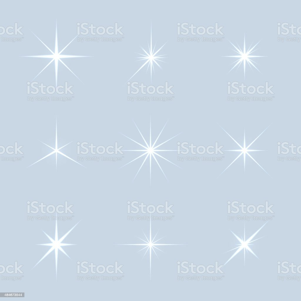 Vector set of sparkle lights stars vector art illustration