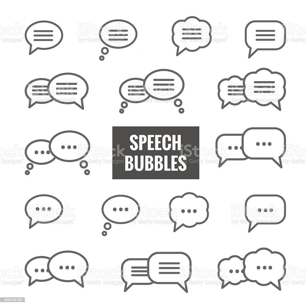 Vector set of speech bubble linear icons vector art illustration