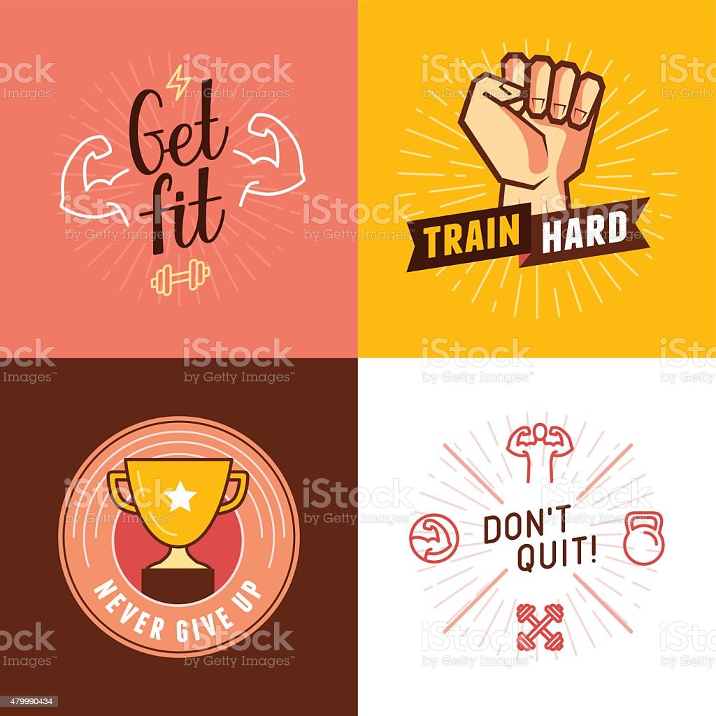 Vector set of sport, fitness concepts vector art illustration