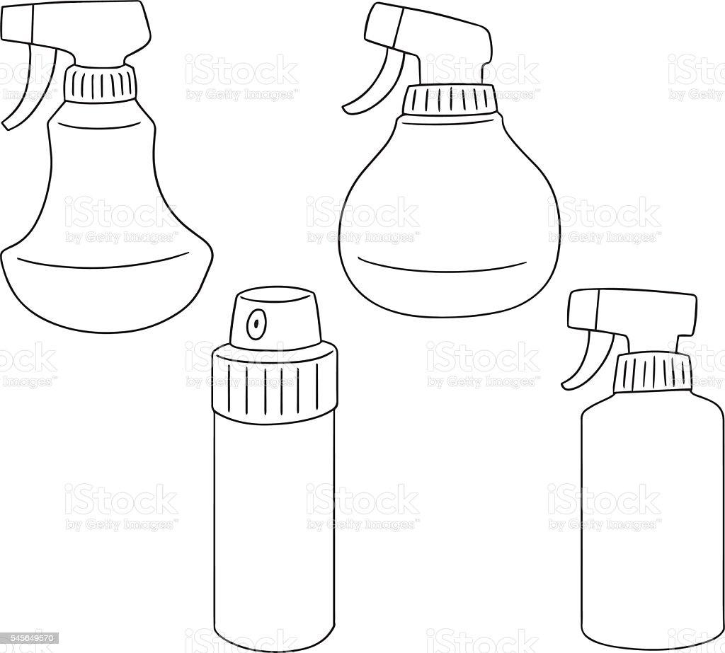 vector set of spray bottle vector art illustration