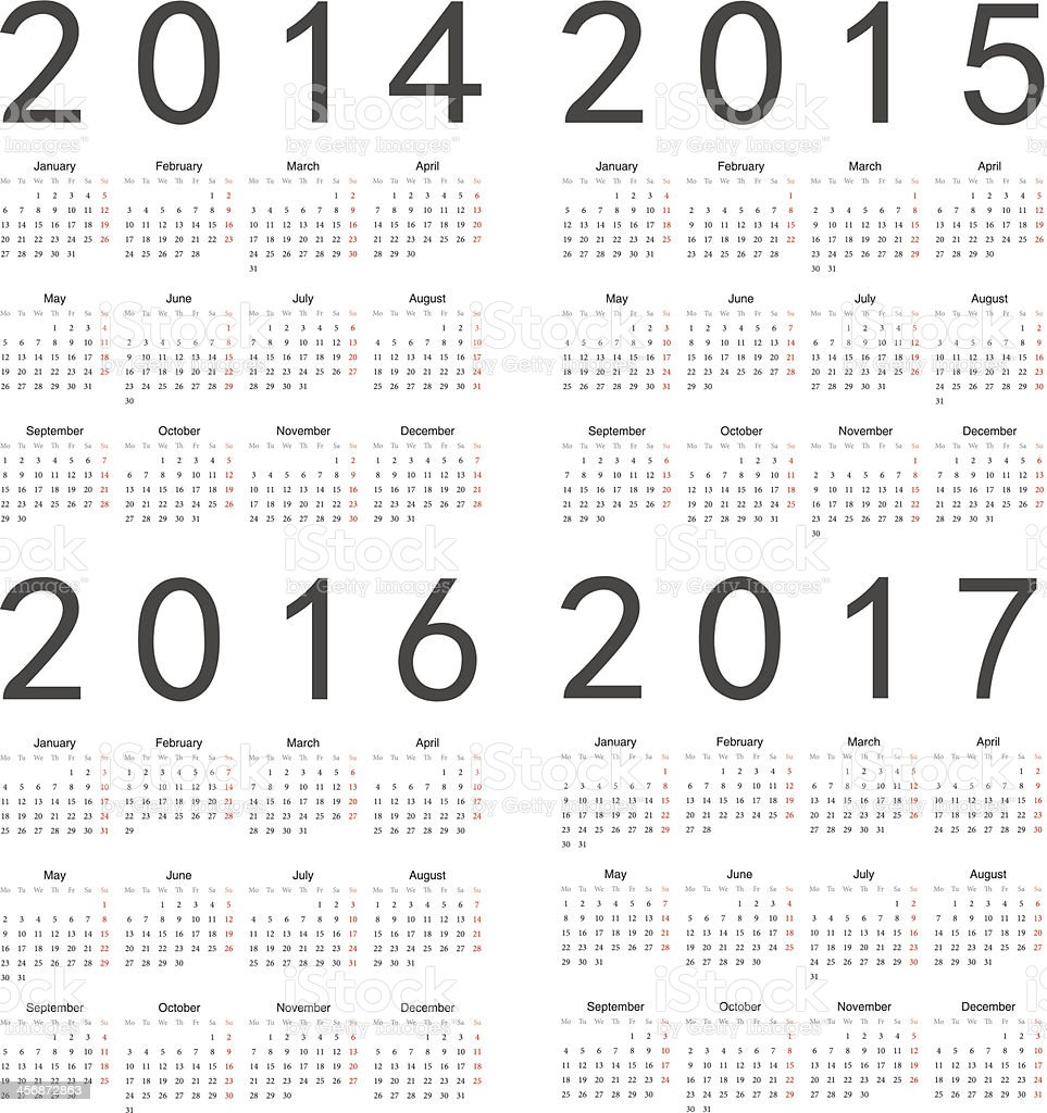 Vector set of square 2014-2017 year calendars vector art illustration