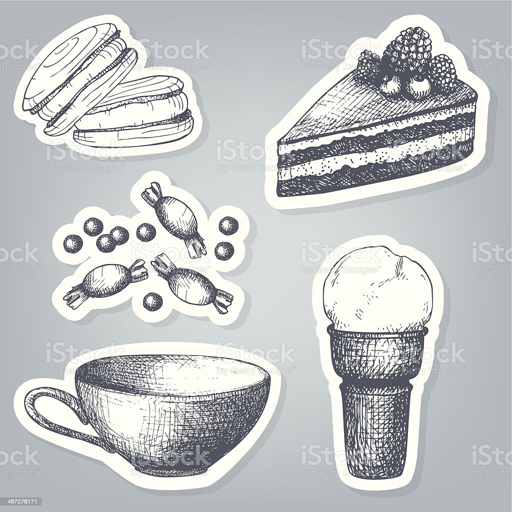 Vector set of stickers with hand drawn sweets royalty-free stock vector art
