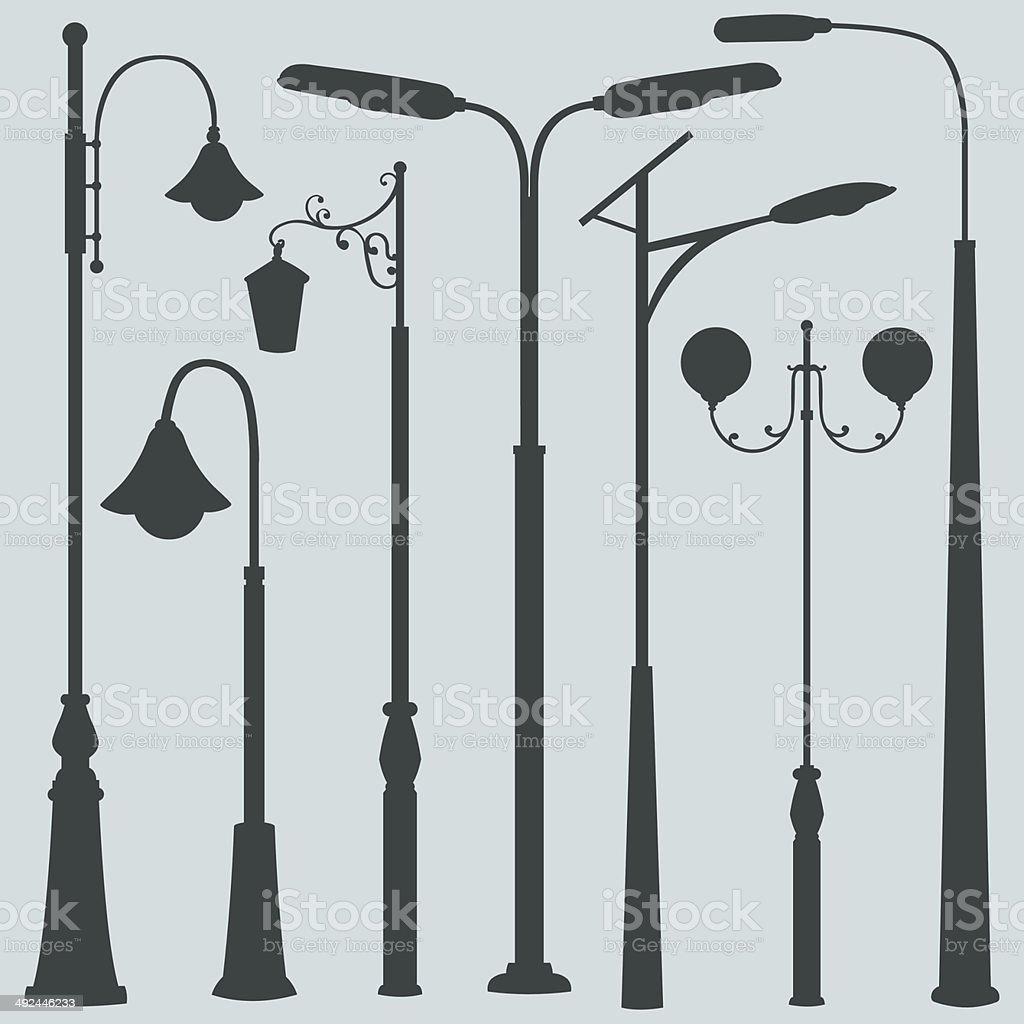 Vector Set of Street Lights Silhouettes vector art illustration