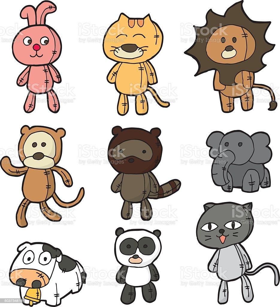 vector set of stuffed animals vector art illustration