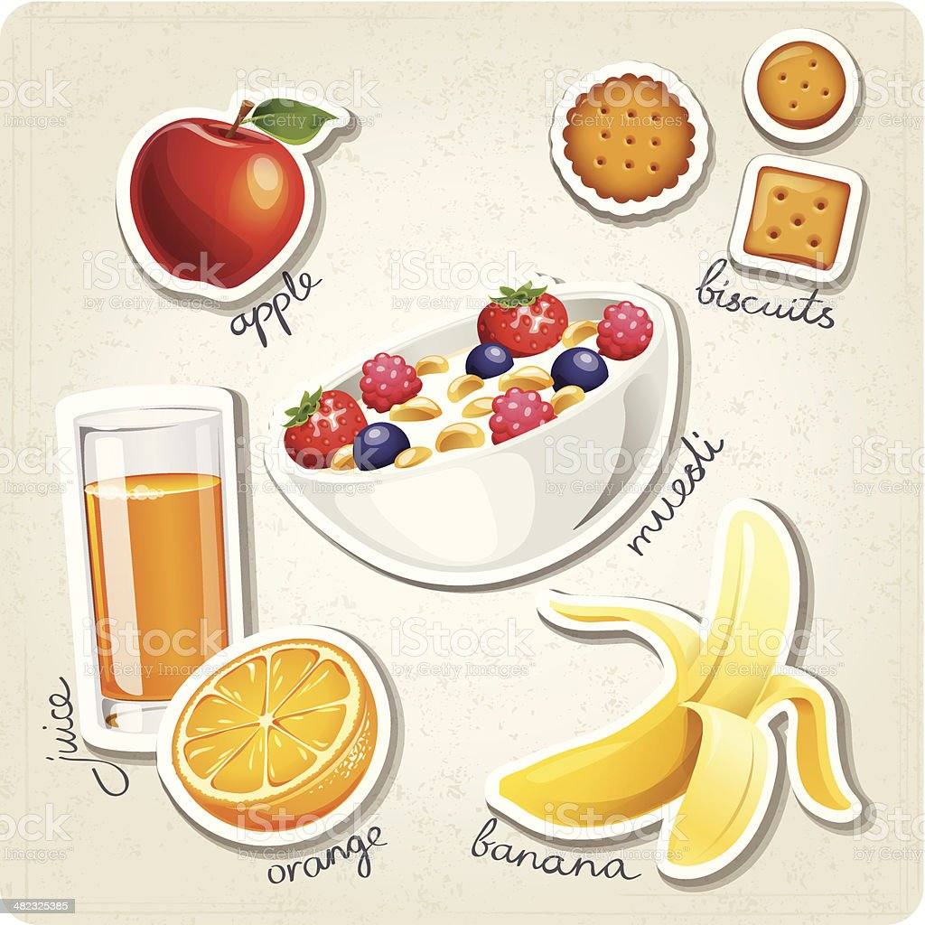 Vector set of stylized food icons. vector art illustration