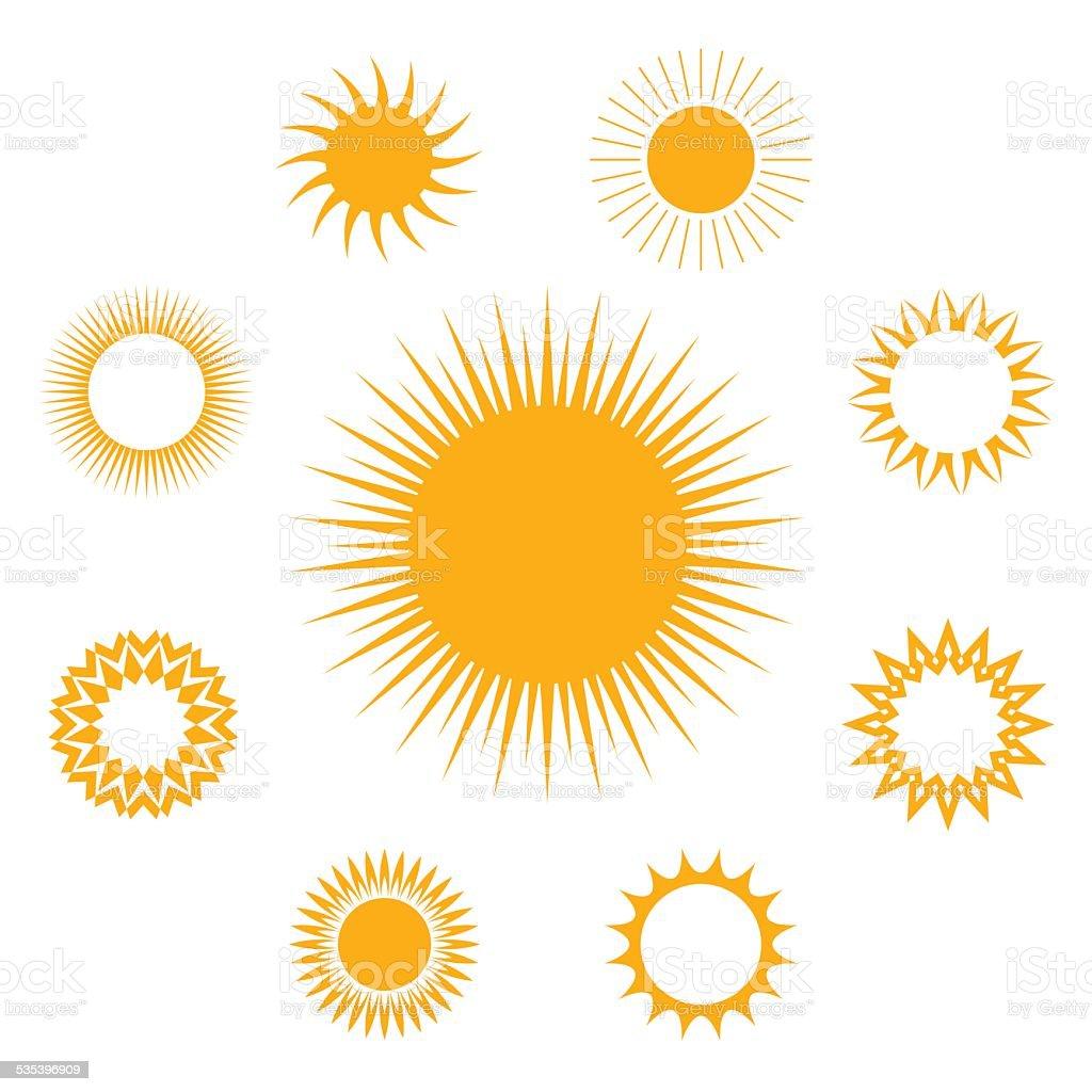 Vector set of Sun vector art illustration