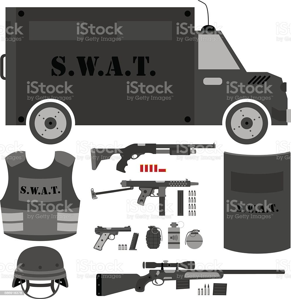 Vector set of swat, police gear. vector art illustration