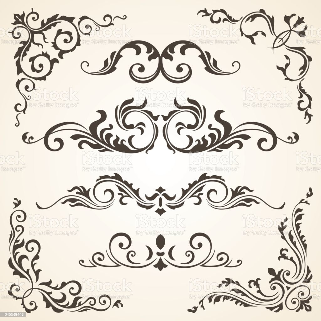 Vector set of Swirl Elements and Corners for design. Calligraphic page decoration, Labels, banners, baroque Frames floral ornaments. Old paper vector art illustration