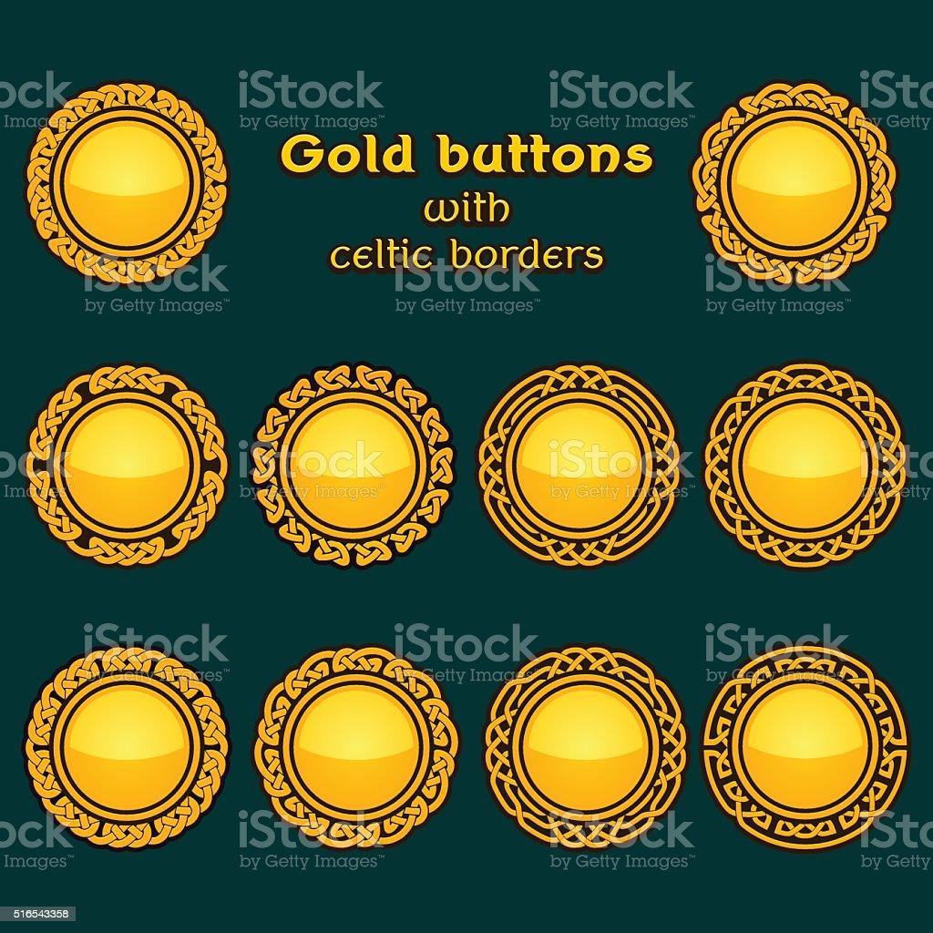 Vector set of ten golden celtic knotwork buttons vector art illustration