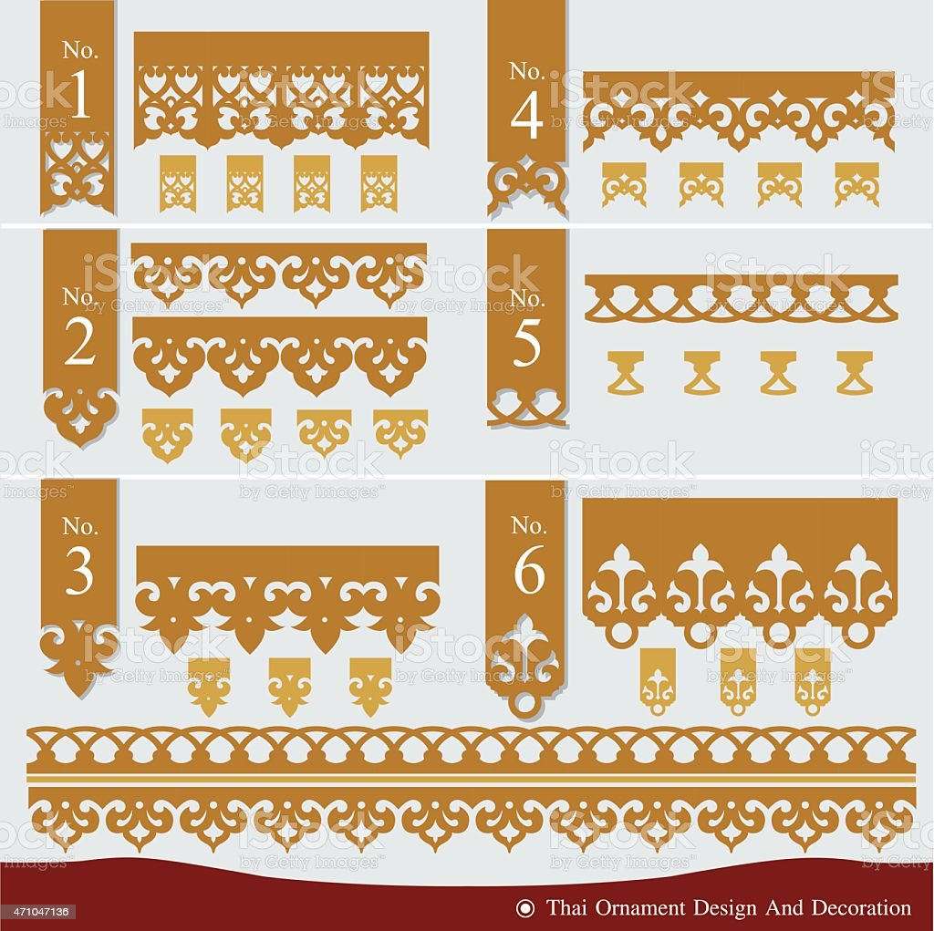 Vector set of Thai ornament design and decoration vector art illustration