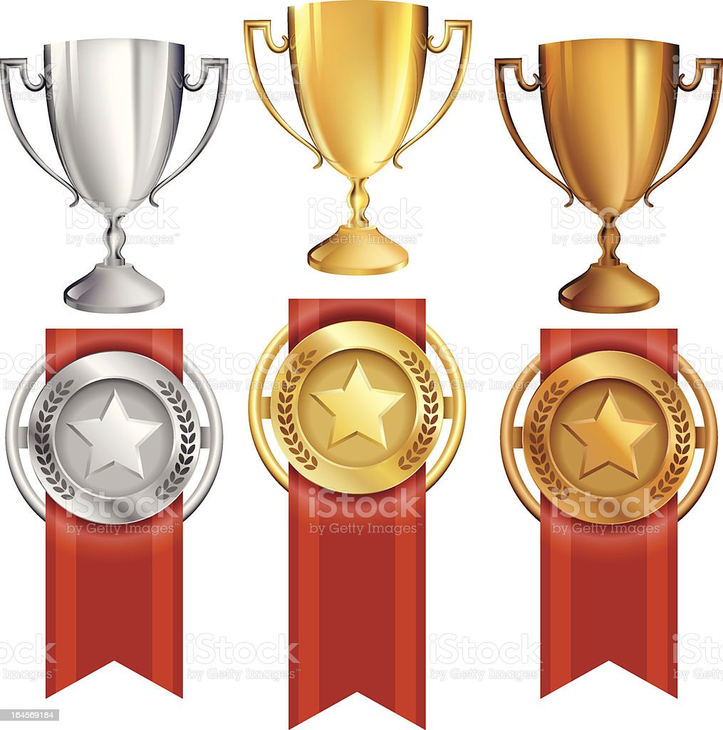 Vector set of three trophies and ribbon medals vector art illustration