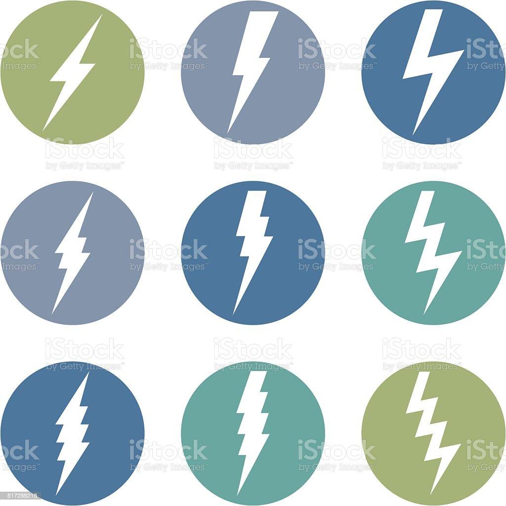Vector Set of Thunder Lighting Icons vector art illustration