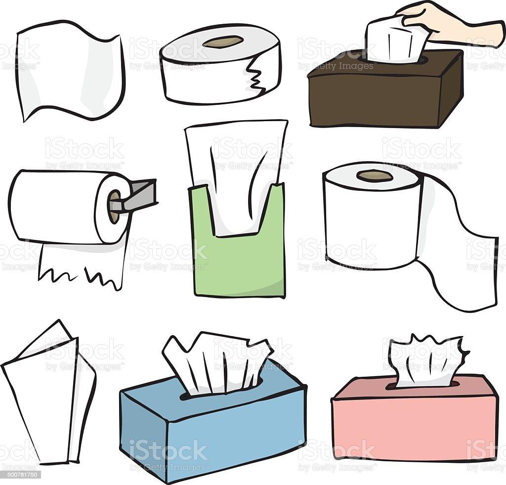 vector set of tissue paper vector art illustration