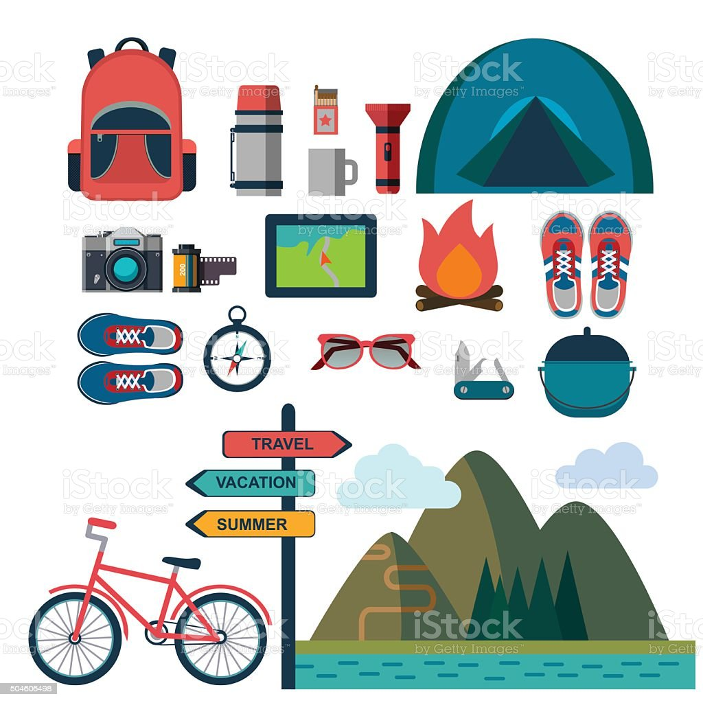 vector set of touristic icons vector art illustration