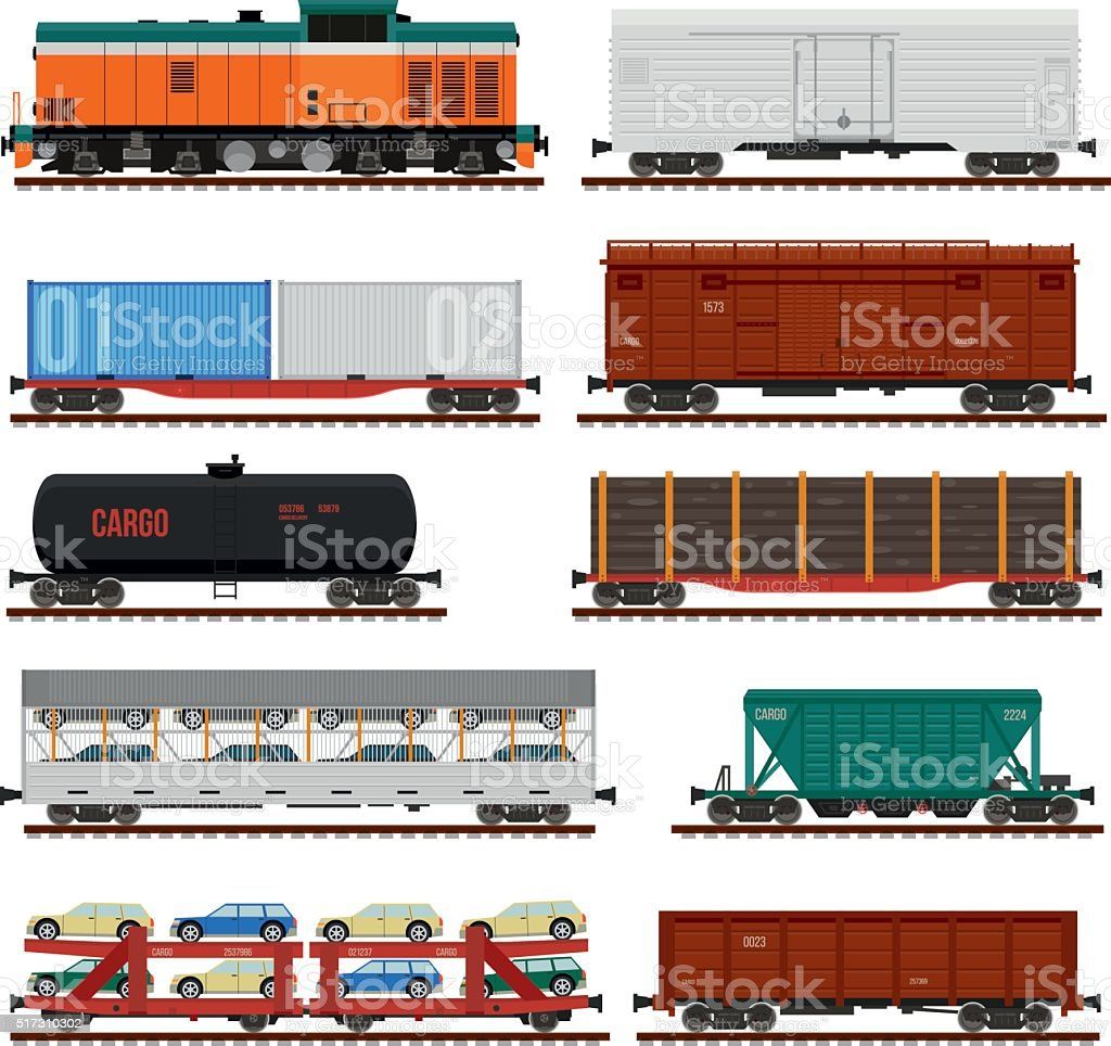 Vector set of Train Cargo Wagons, Tanks, Cars vector art illustration