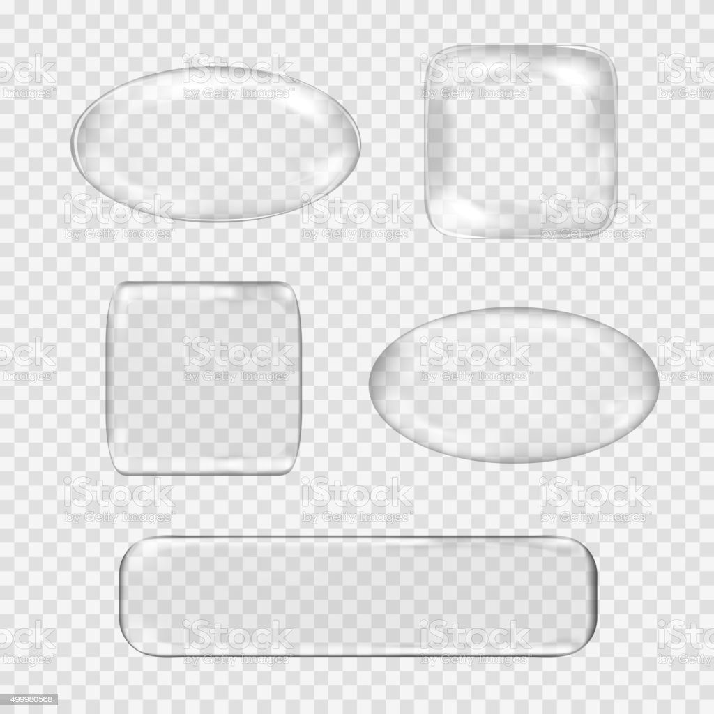 Vector set of transparent glass buttons. White sphere, square, rectangle vector art illustration