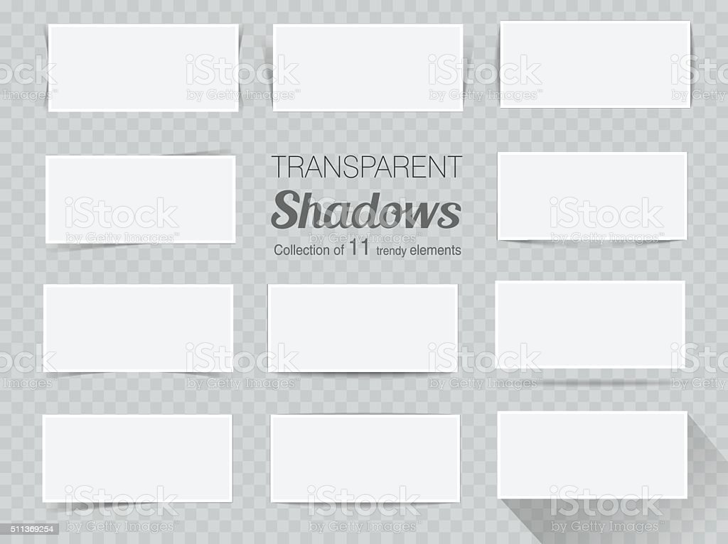 Vector set of transparent realistic shadows for your design vector art illustration