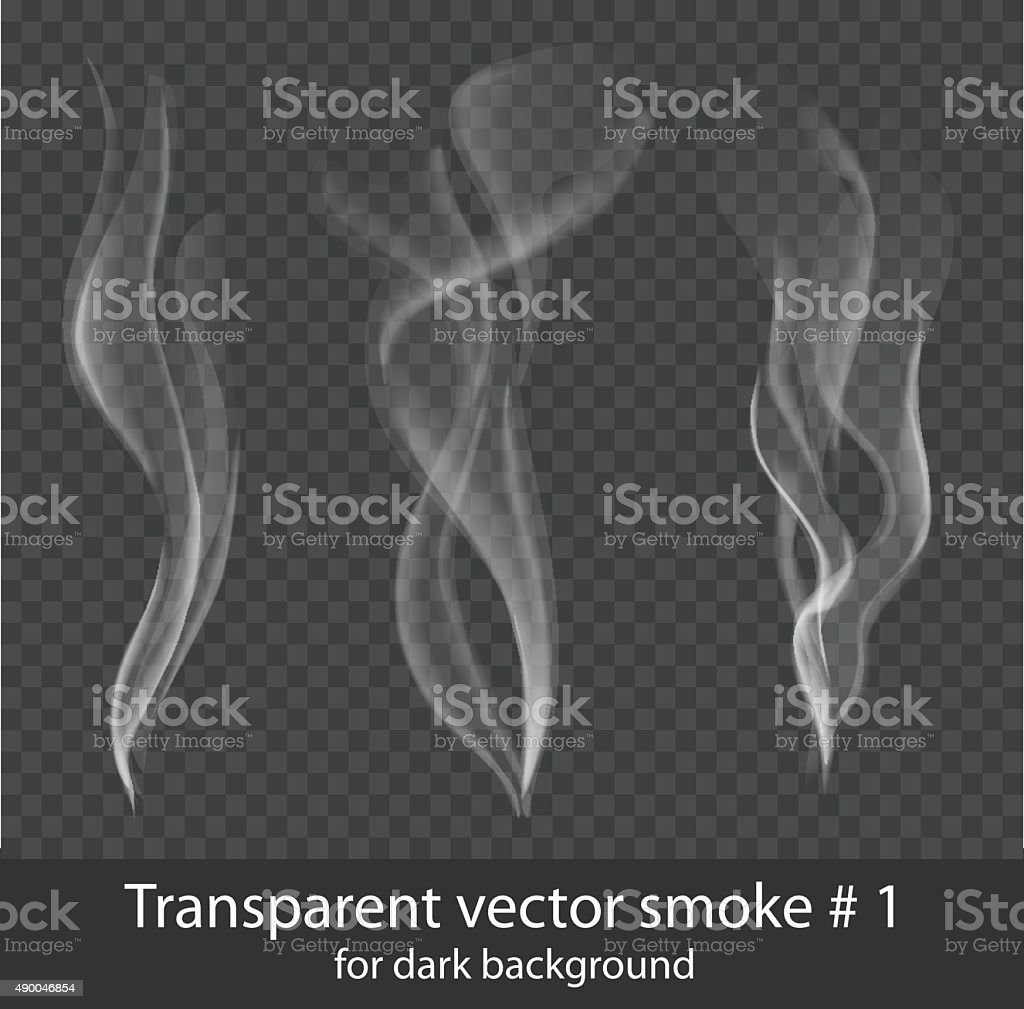 Vector set of transparent white cigarette smoke on dark background vector art illustration