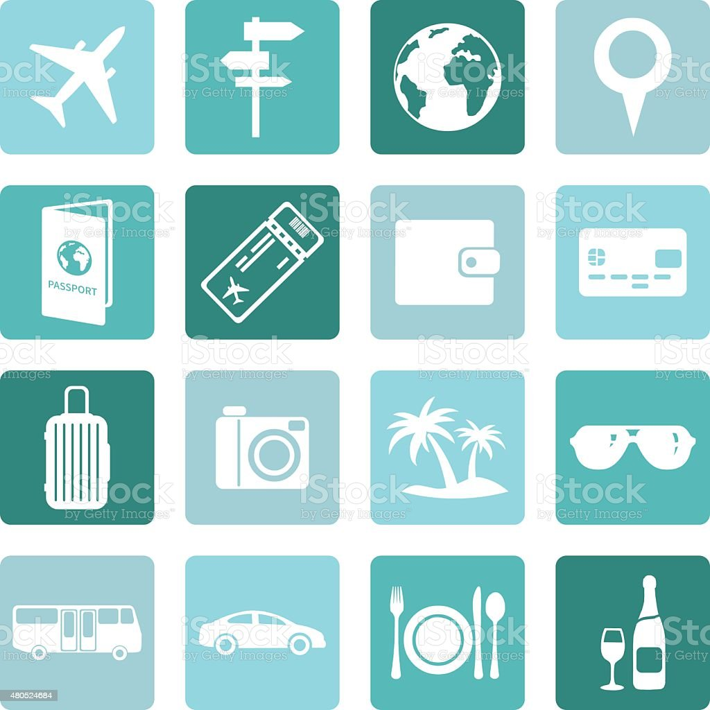 Vector Set of Travel and Vacation Icons. vector art illustration