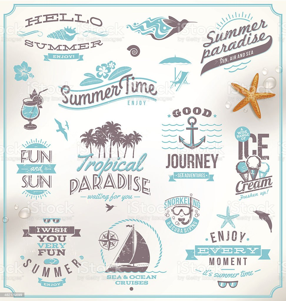 Vector set of travel and vacation lettering emblems royalty-free stock vector art
