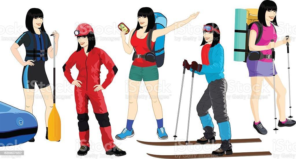 vector set of travel girl: hiker, caver,rafter and skier vector art illustration