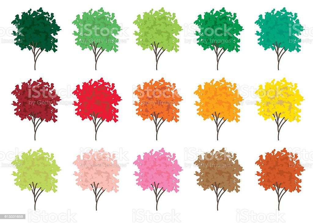 Vector set of trees vector art illustration
