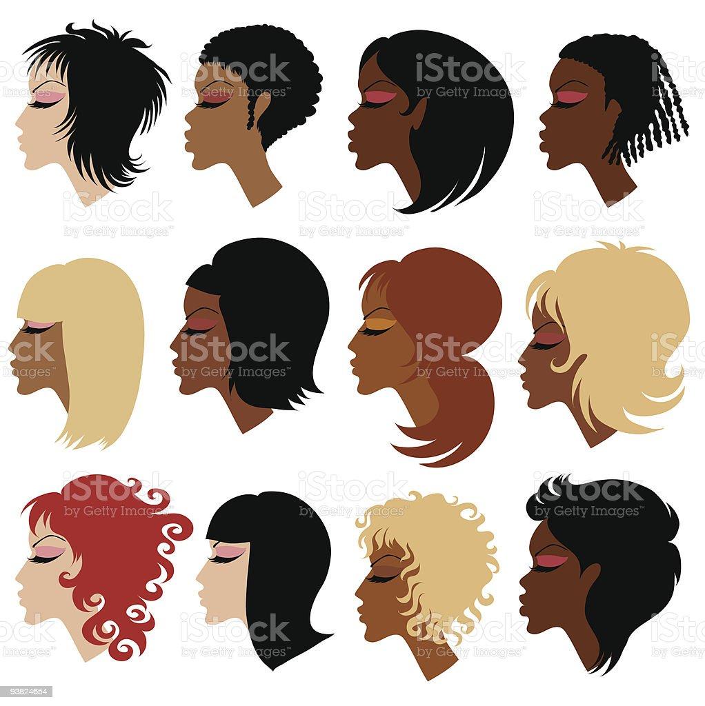 Vector set of trendy hair styling for woman vector art illustration
