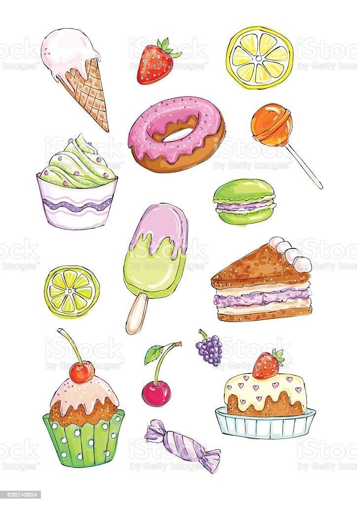Vector set of various desserts on a white background vector art illustration