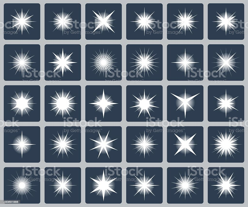 Vector set of various forms of sparks vector art illustration
